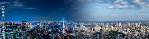 Spoed Foto op Canvas Tokyo Tokyo cityscape night and day. Panorama view.