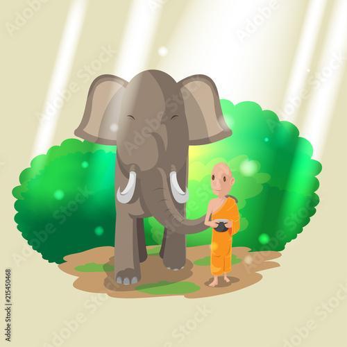 Photo Elephant Animal Monk Walk Culture Vector
