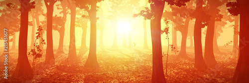 La pose en embrasure Brique foggy forest at sunrise, peaceful landscape, warm magical background with trees