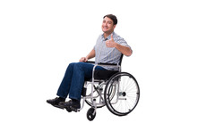 Man On Wheelchair Isolated On ...
