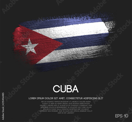 Photo Cuba Flag Made of Glitter Sparkle Brush Paint Vector