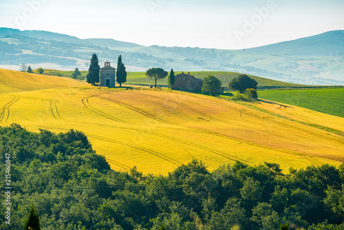 Spoed Foto op Canvas Oranje Natural landscape of summer at beautiful hilly field Tuscany