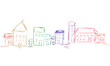 Haus Häuser Landschaft Band Banner Bunt Panorama Zeichnung Skizze Reihe