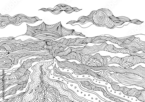 Leinwand Poster abstract mountain landscape vector hand drawing doodle sketch design illustration