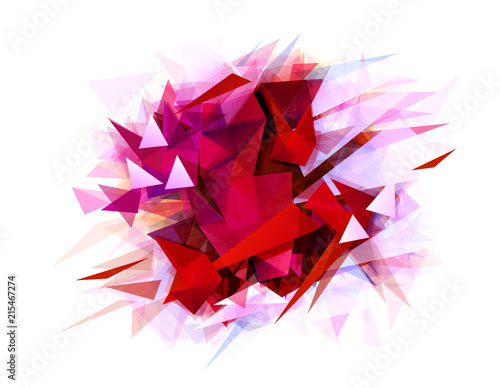 Fototapety, obrazy: Modern abstract banner with red color and contrast graphic texture formed by geometric triangles.