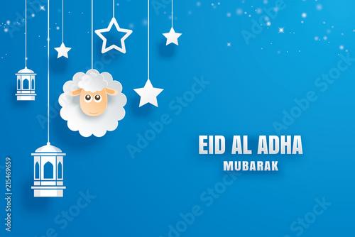 Eid Al Adha Mubarak Celebration Card With Paper Art Sheep Hanging On
