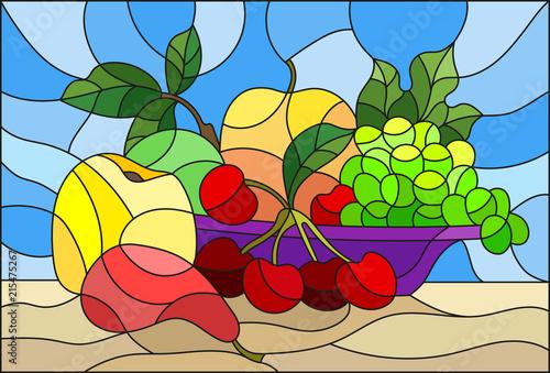 ilustracja-w-stylu-witrazu-z-martwa-natura-owoce-i-jagody-w-kolorze-fioletowym