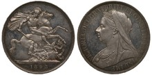 Great Britain British Silver Coin 1 One Crown 1893, Saint George On Horse Killing Dragon, Older Type Bust Of Queen Victoria Left,