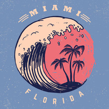 Miami. Poster Template With Le...