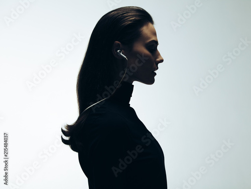 Woman with earphones Canvas Print