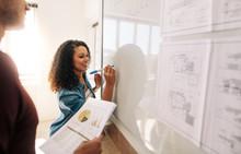 Woman Entrepreneur Writing On ...
