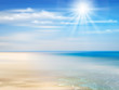 Illustration Summer background with ocean, coastline, blue sky, sunshine and beach.