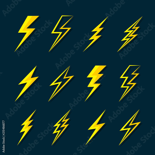 Vector of thunder lightning flat icons set on dark blue background.