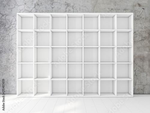 Empty White Shelving Unit In Interior Bookshelf Mockup