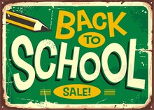 Back To School Retro Sign Advertising With Pencil And Creative Lettering. Promotional Poster Design For School Accessories Sale.