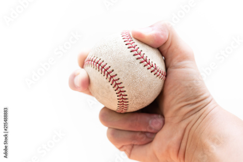 Baseball : Curveball Grip with two fingers and seams - close up on a white background with copy space.