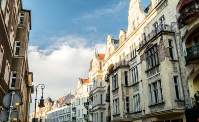 magnificent ancient architecture in the style of the Renaissance. Colorful and so different buildings of the ancient city of Poznan.