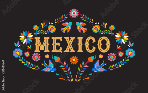 Mexico background, banner with colorful Mexican flowers, birds and elements фототапет