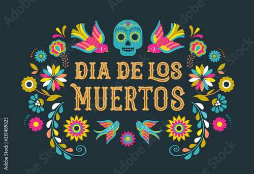 Tableau sur Toile Day of the dead, Dia de los moertos, banner with colorful Mexican flowers