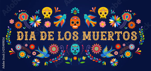 Canvas Print Day of the dead, Dia de los moertos, banner with colorful Mexican flowers