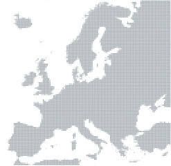 Fototapeta na wymiar Silhouette of Europe. Gray halftone dots, varying in size and spacing. Map of Europe. Dotted outline and surface under Robinson projection. Isolated ilustration on white background. Vector.