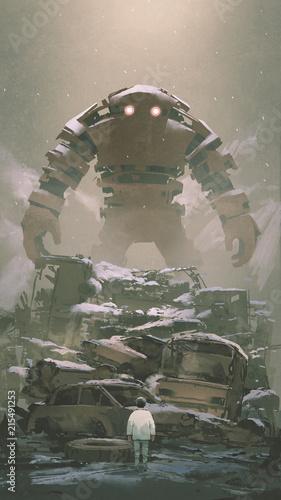 gigantyczny robot za stosem wraków samochodów, patrząc na chłopca poniżej, styl sztuki cyfrowej, malarstwo ilustracyjne