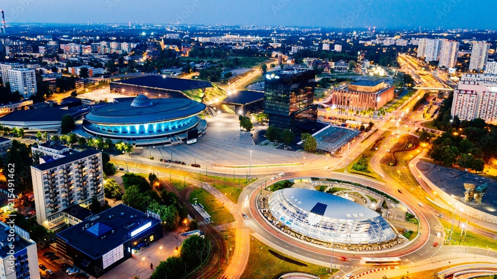 Fototapety, obrazy: Aerial drone view on Katowice centre and roundabout at night.
