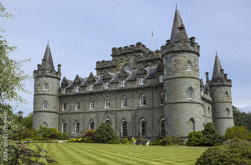 Photo Inveraray Castle is an estate house near Inveraray in the county of Argyll, in western Scotland, on the shore of Loch Fyne,It has been the seat of the Duke of Argyll, chief of Clan Campbell