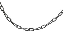 Metal Chain Isolated On White Background, Clipping Path