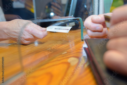 at a cashier