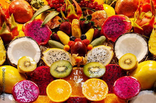 Tuinposter Canarische Eilanden Exotic tropical fruits in the market