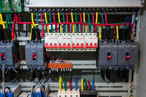 Wondrous Close Up Circuit Breakers And Wire In Control Panel Buy This Stock Wiring Cloud Favobieswglorg