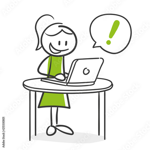 Stick Figure Series Green Woman / Frau am Laptop mit Erfolg Fototapeta
