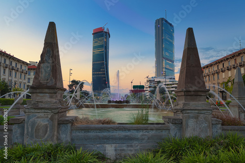 Autocollant pour porte Milan Milan Citylife skyscrapers