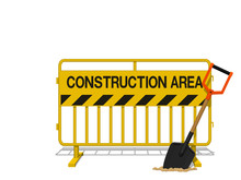 Yellow Steel Barrier With  Shovel In The Concept Of Under Construction Area