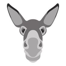Donkey Face Head Vector Illustration Flat Style Front