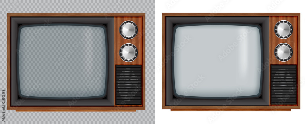 Fototapety, obrazy: Old wooden television.Vector retro television mock up with transparent glass screen isolate on white and transparent background.