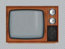Old Wooden Television.Vector Retro Television Mock Up Isolate On Transparent Background.