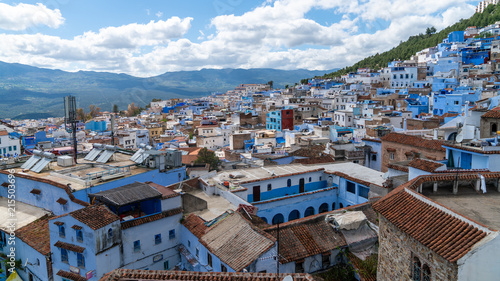 Deurstickers Marokko Chefchaouen panorama, blue city skyline on the hill, Morocco
