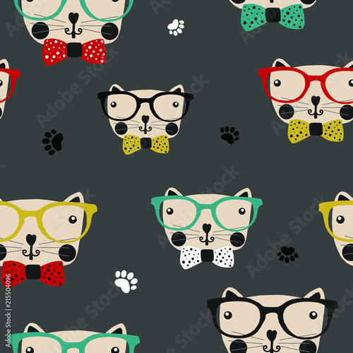 Tela  Hand drawn vector illustration cute cartoon seamless pattern cat, eyeglasses, pa