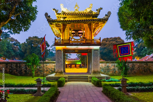 Beautiful Unesco Temple of Literature at night, Hanoi in Vietnam