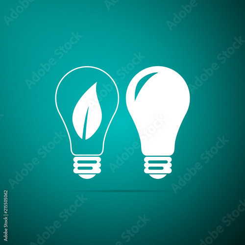 Clic Lamp And Light Bulb With Leaf Inside Icon Isolated