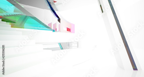 Foto op Aluminium Hoogte schaal Abstract white and colored gradient glasses interior multilevel public space with window. 3D illustration and rendering.