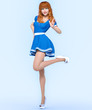 3D beautiful young attractive girl blue dress.Woman studio photography.High heel.Conceptual fashion art.Seductive candid pose.Realistic render.Summer collection clothes