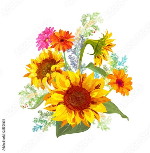 Bouquet autumn flowers yellow sunflowers gerbera daisy flower bouquet autumn flowers yellow sunflowers gerbera daisy flower small green twigs of asparagus mightylinksfo