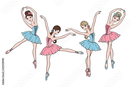 Vászonkép Set of cute ballerinas in pink and blue tutu dresses