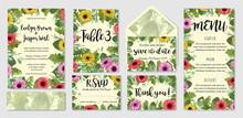 Beautiful Vector Wedding Invitation Set, Envelope, Table Number, Menu. Gerbera Flowers, Roses And Eucalyptus Leaves, Wax Flowers. Watercolor