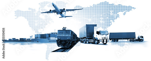 Valokuva  Transportation, import-export and logistics concept, container truck, ship in po