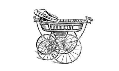 Fototapeta na wymiar Victorian Pram Baby Stroller