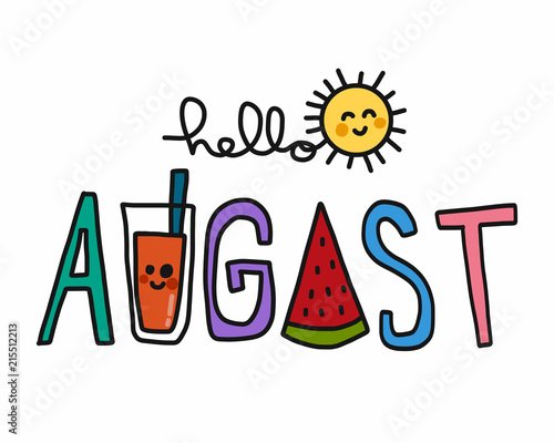 Fototapeta  Hello August word and cute sun cartoon vector illustration